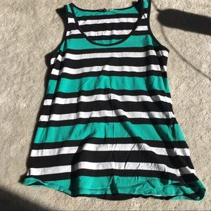 Teal striped tank top